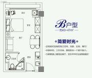 云开公馆1室1厅1卫43--47平方米户型图
