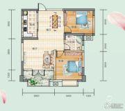 连山鼎府2室2厅1卫85平方米户型图