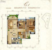 东江首府2室2厅2卫111平方米户型图