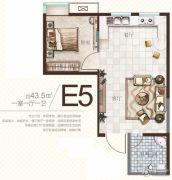 广厦曼哈顿1室1厅1卫43平方米户型图