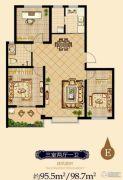 日百・市北依河园3室2厅1卫95平方米户型图