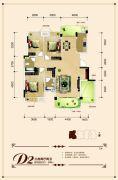 联发・君澜天地3室2厅2卫140平方米户型图