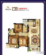 鸿通・春天江与城3室2厅2卫81平方米户型图