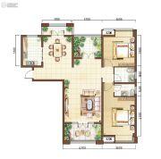 上海公馆2室2厅2卫124平方米户型图