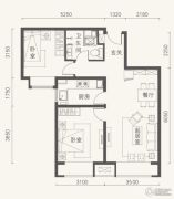 金第万科・金域东郡2室2厅1卫75平方米户型图