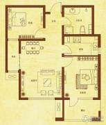国赫红珊湾2室2厅1卫82平方米户型图