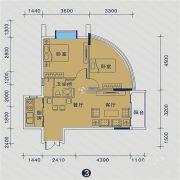 御�Z华庭2室2厅1卫65平方米户型图