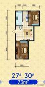 建发・观澜丽景2室2厅1卫73平方米户型图