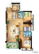 怡景苑3室2厅2卫110平方米户型图