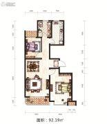 日月兴城2室2厅1卫92平方米户型图