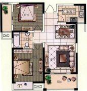观山名筑2室2厅1卫88平方米户型图