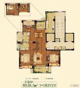 祥生悦山湖4室2厅2卫128平方米户型图