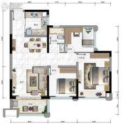 华发・又一城3期3室2厅1卫87--89平方米户型图
