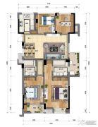 新天地・金色时光4室2厅1卫118平方米户型图