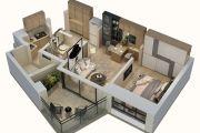 上乘世纪公园1室1厅1卫61平方米户型图