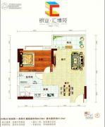 银业・汇博苑2室2厅1卫64平方米户型图