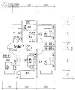 钓鱼一�院3室2厅1卫96平方米户型图