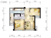 蓝光乐彩城2室2厅1卫55平方米户型图