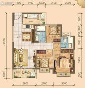 北海恒大雅苑3室2厅2卫101平方米户型图