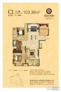 世纪华府2室2厅1卫103平方米户型图