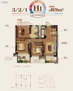金地艺境3室2厅1卫89平方米户型图