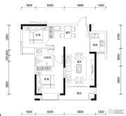 多伦公园里3室2厅1卫90平方米户型图
