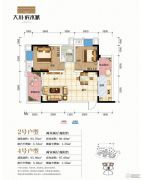 大川滨水城2室2厅1卫67平方米户型图