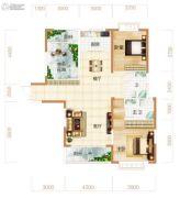 东方美地3室2厅2卫126平方米户型图