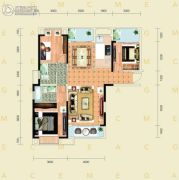 千禧城3室2厅2卫125平方米户型图