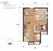 汉口派2室2厅1卫68平方米户型图