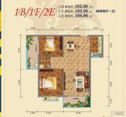 君悦珑庭2室2厅1卫102--104平方米户型图