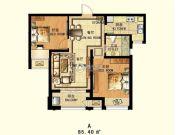7星首府2室2厅1卫85平方米户型图