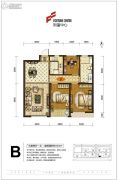 财富中心3室2厅1卫101平方米户型图