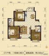 联邦御景江山3室2厅2卫106平方米户型图