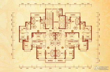 恒大城17号楼1/2单元户型图