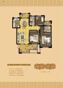 书香门邸3室2厅2卫136平方米户型图