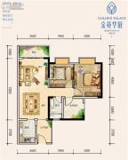 城投金花华庭2室2厅2卫85平方米户型图