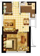 城关江南明珠2室1厅1卫64平方米户型图