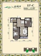 棕榈湾2室2厅1卫88平方米户型图
