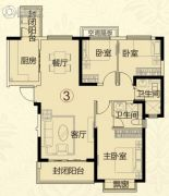 常德恒大华府3室2厅2卫125平方米户型图