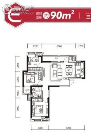 保利上城4#楼E户型 3室2厅1卫90平