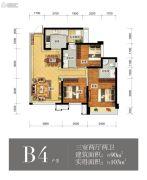 瑞升望江橡树林3室2厅2卫90平方米户型图