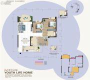 汇乐国际3室2厅1卫98平方米户型图