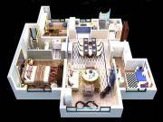 中昂安纳西小镇3室2厅2卫105平方米户型图