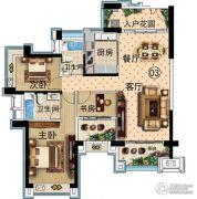 雅居乐万象郡3室2厅3卫129平方米户型图