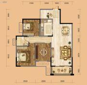 中南一号院2室2厅1卫99平方米户型图