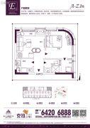 恒大水晶国际广场1室1厅1卫47平方米户型图