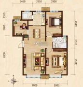 富力城3室2厅1卫121平方米户型图