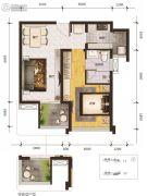 乐古浪成都1室2厅1卫58平方米户型图