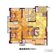 贵安新天地3室2厅2卫115平方米户型图